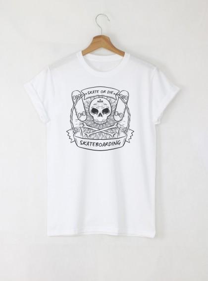 Skate or Die мъжка бяла тениска с дизайнерски принт