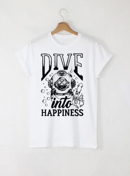 Dive Design Мъжка Бяла тениска с дизайнерски принт