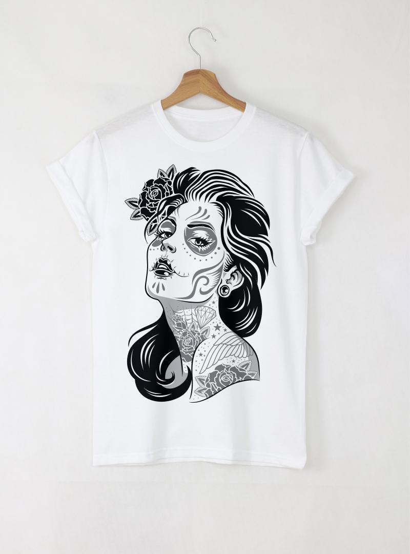 Dead Girl Day Дамска бяла тениска с дизайнерски принт
