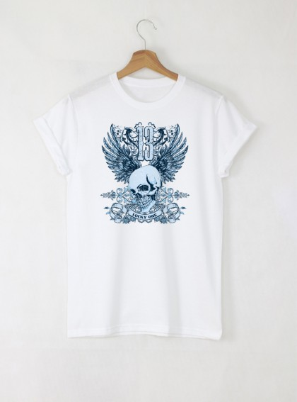 Skull Lucky One Blue мъжка бяла тениска с дизайнерски принт череп