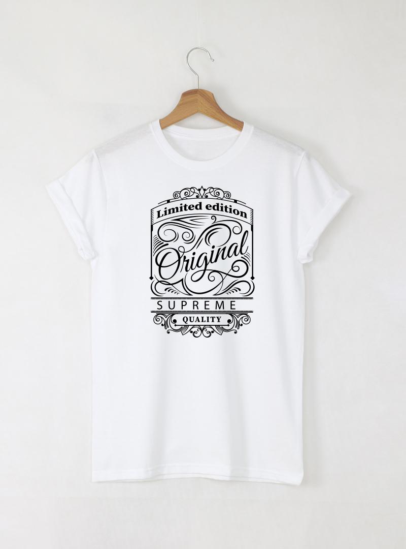 Original мъжка бяла тениска с дизайнерски принт