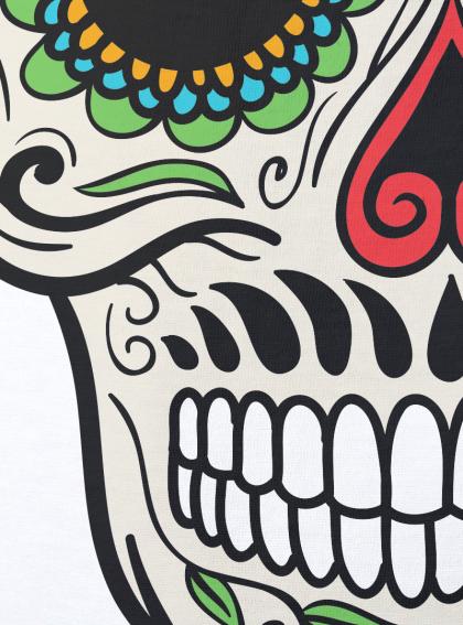 Skull Mexican tattoo мъжка бяла тениска с дизайнерски принт череп