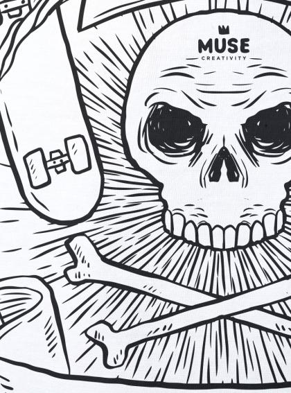 Skate or die-мъжка бяла тениска с дизайнерски принт