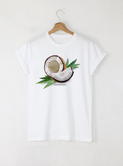 Summer Coconut Дамска бяла тениска с дизайнерски принт