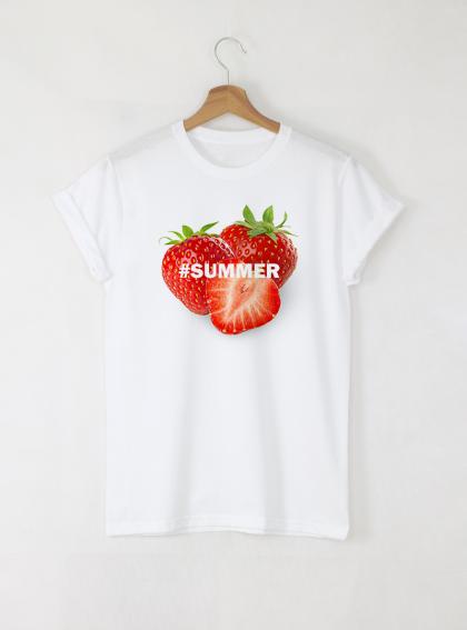 Summer Strawberry Дамска бяла тениска с дизайнерски принт