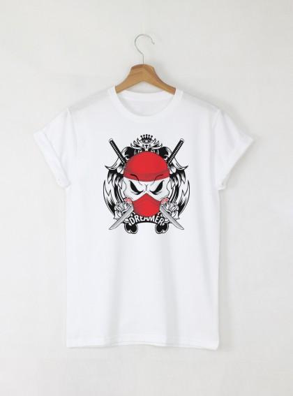 Skull Dreamer мъжка бяла тениска с дизайнерски принт череп