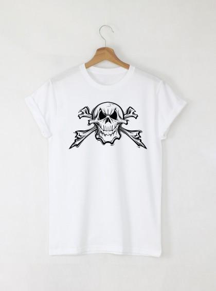 Skull Zz мъжка бяла тениска с дизайнерски принт череп