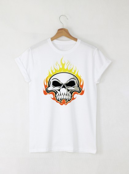 Skull black Burn мъжка бяла тениска с дизайнерски принт череп