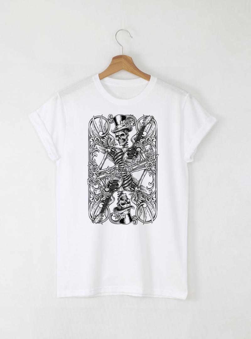Skull Card Mъжка бяла тениска с дизайнерски принт череп