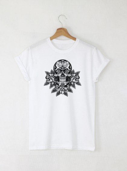 Skull Rose мъжка бяла тениска с дизайнерски принт череп