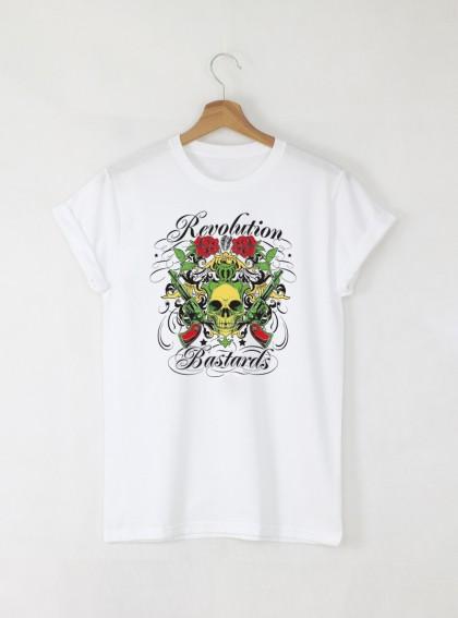 Skull Revolution Bastards Мъжка Бяла Тениска С Дизайнерски Принт Азиатски размер