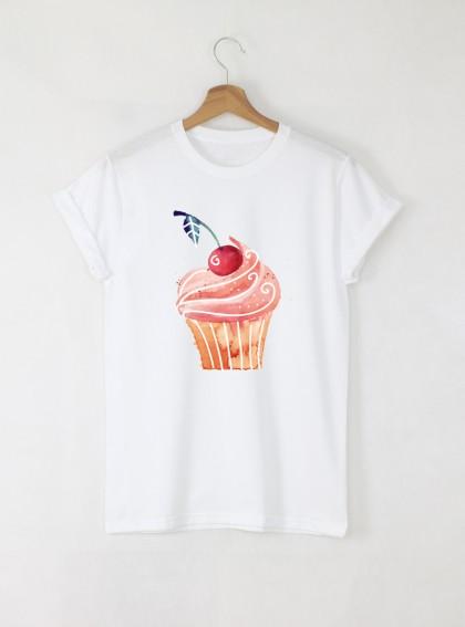 Muffin 1 Дамска бяла тениска с дизайнерски принт