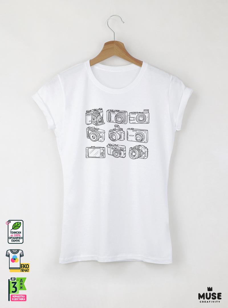 Cameras Дамска бяла тениска с дизайнерски принт