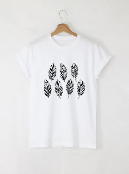 Feathers Дамска бяла тениска с дизайнерски принт