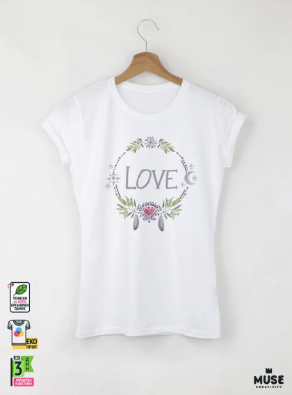 Love Акварел - Дамска бяла тениска с дизайнерски принт