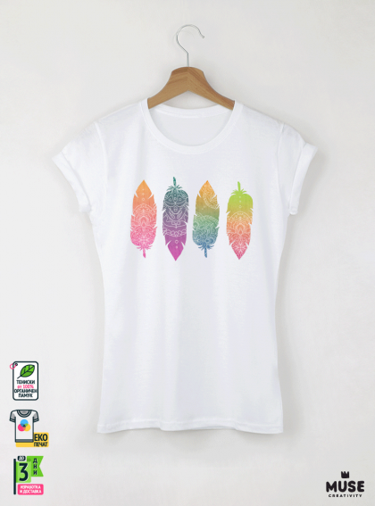 Feathers Mandala Дамска бяла тениска с дизайнерски принт