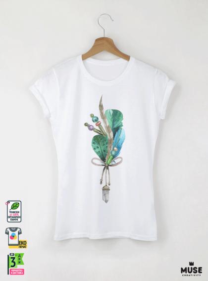 Aquarelle Feathers Дамска бяла тениска с дизайнерски принт