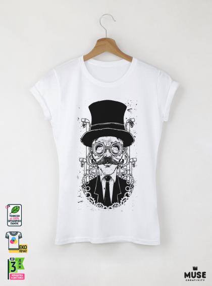 Watchmaker дамска бяла тениска с дизайнерски принт