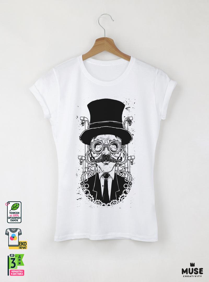 Watchmaker дамска бяла тениска с дизайнерски принт - MUSE
