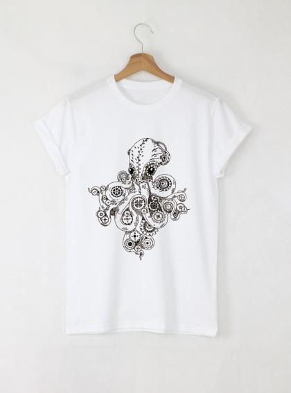 Octopus мъжка бяла тениска с дизайнерски принт