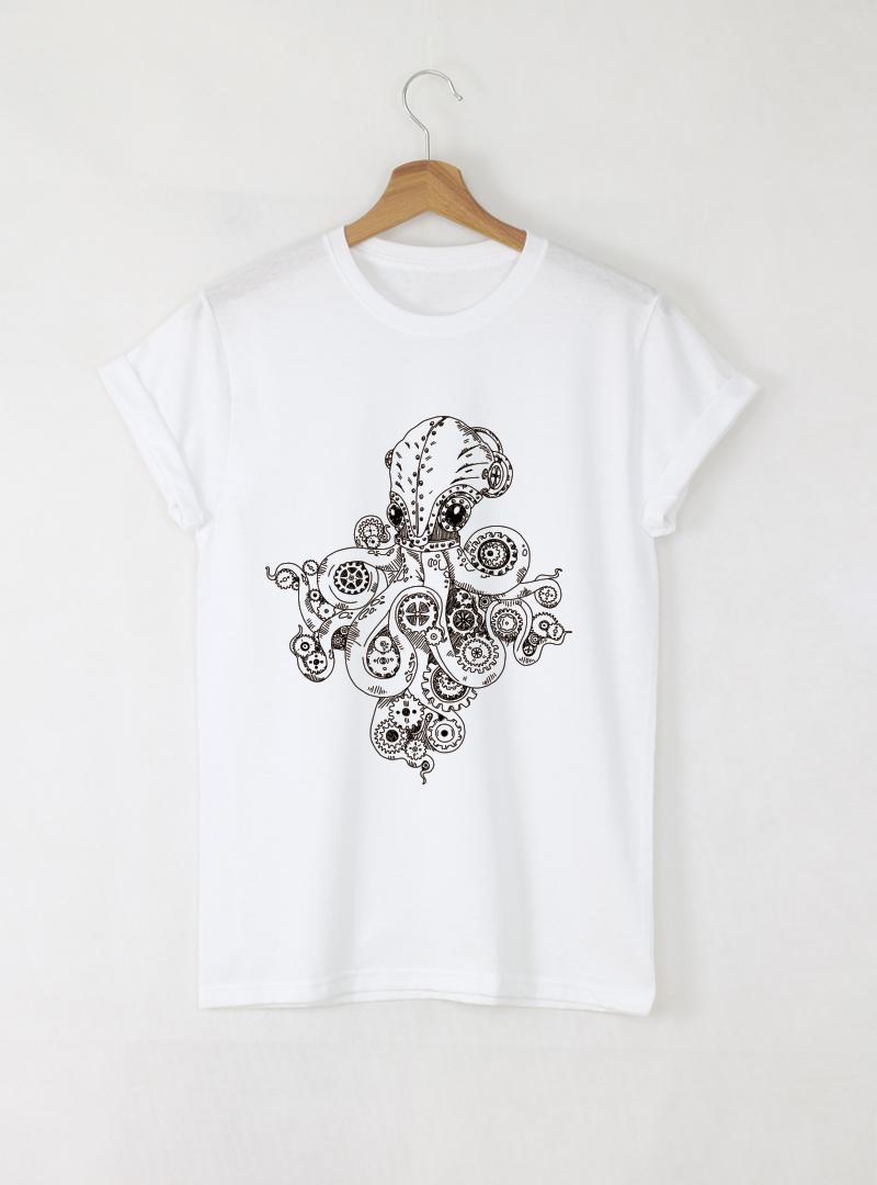 Octopus Дамска бяла тениска с дизайнерски принт - MUSE