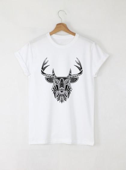Deer Mandala мъжка бяла тениска с дизайнерски принт