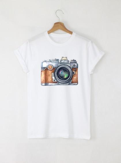 Camera Aquarelle Мъжка Бяла Тениска С Дизайнерски Принт Азиатски Размер