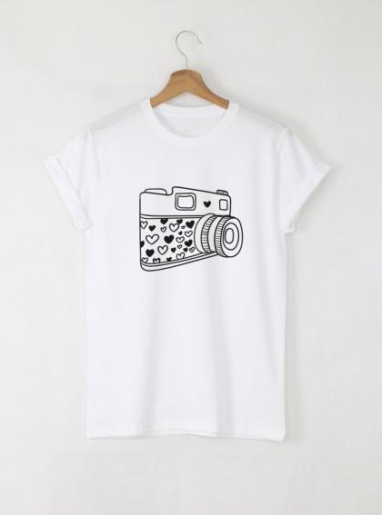 Camera C Дамска бяла тениска с дизайнерски принт