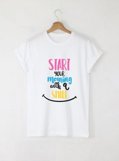 Start Your Morning With a Smile Дамска бяла тениска с дизайнерски принт