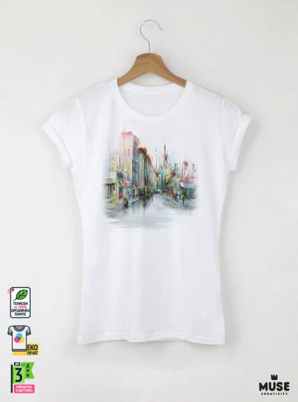 Aquarelle Town Дамска бяла тениска с дизайнерски принт